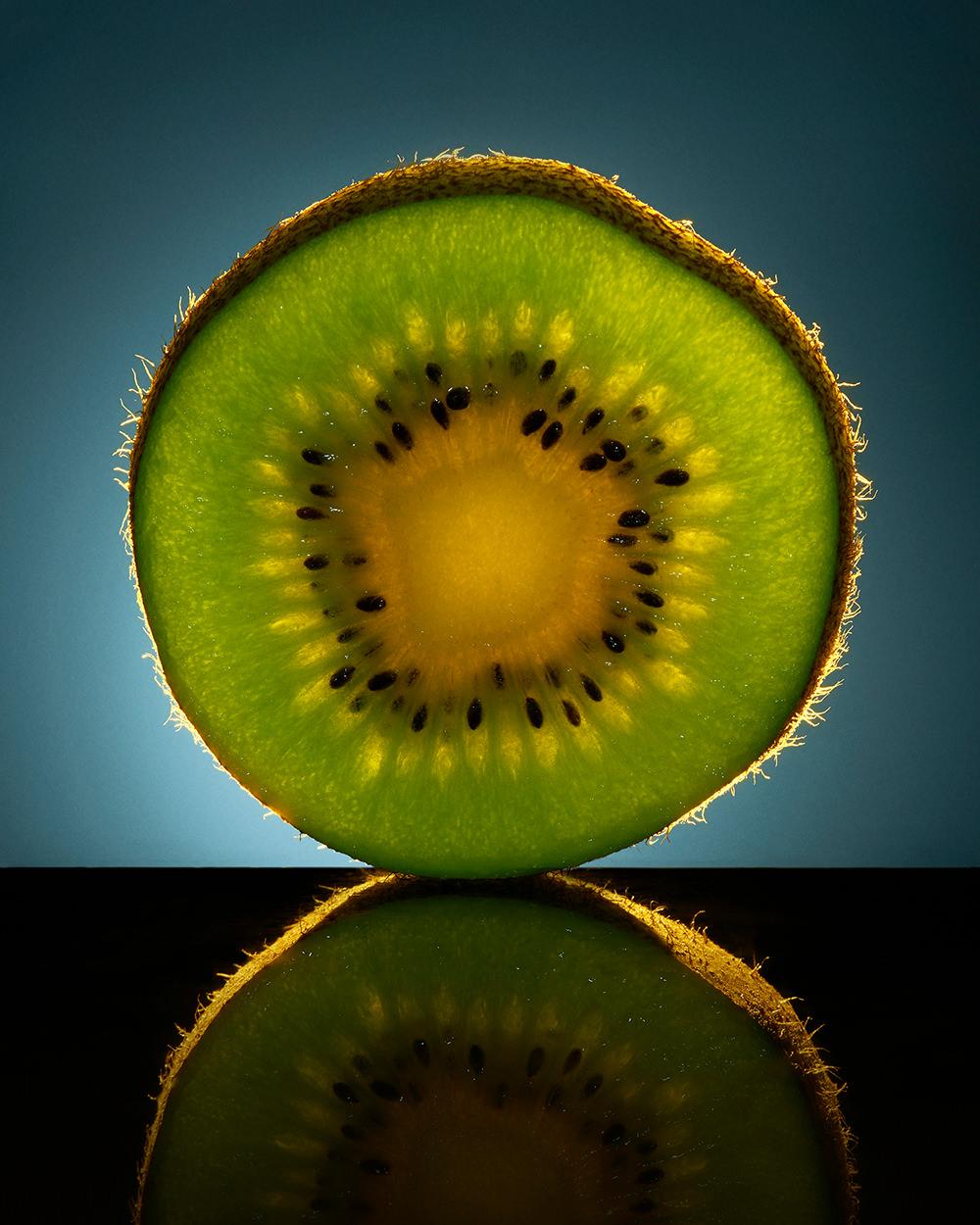 stylised macro kiwi slice texture shot