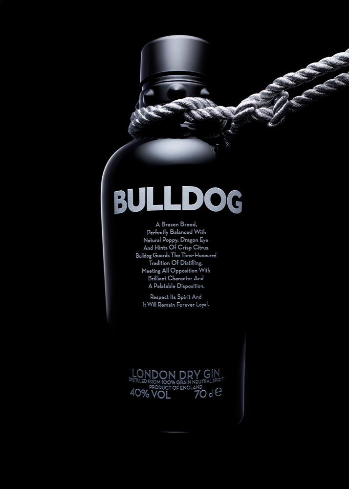 bulldog gin bottle advertising photography
