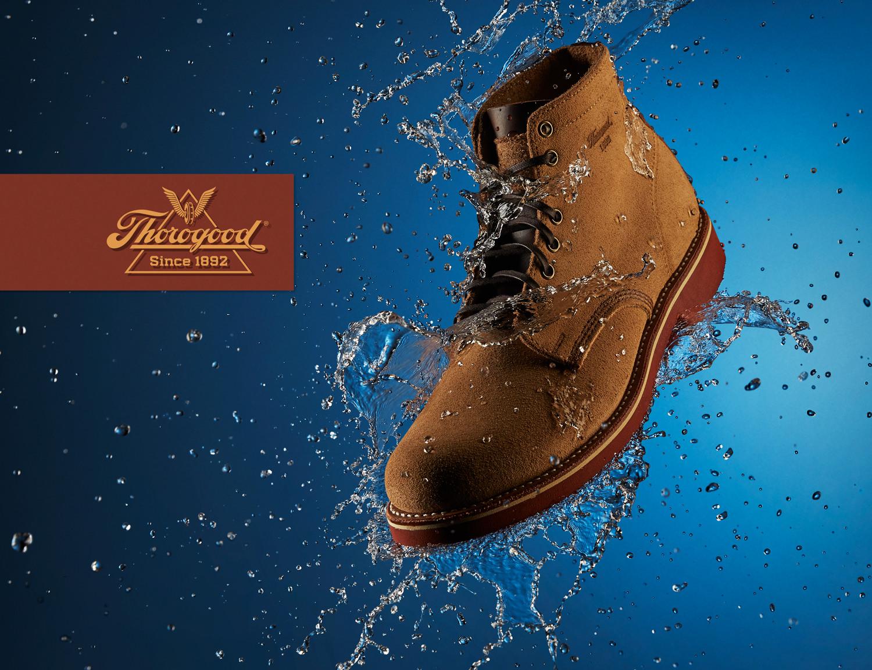 thorogood waterproof boots liquid photography advert