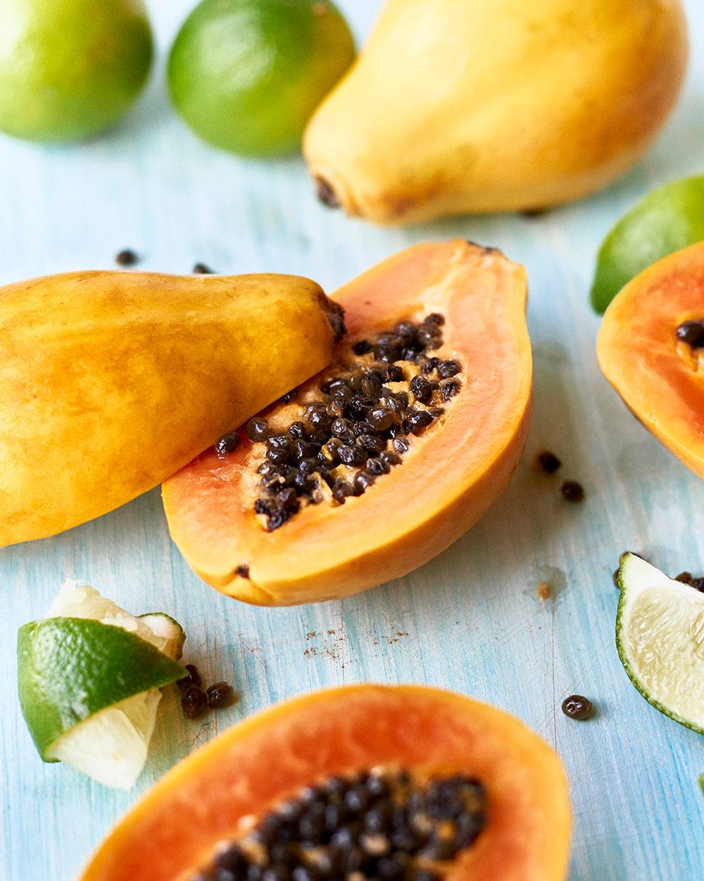 cut papaya and lime kirsty owen