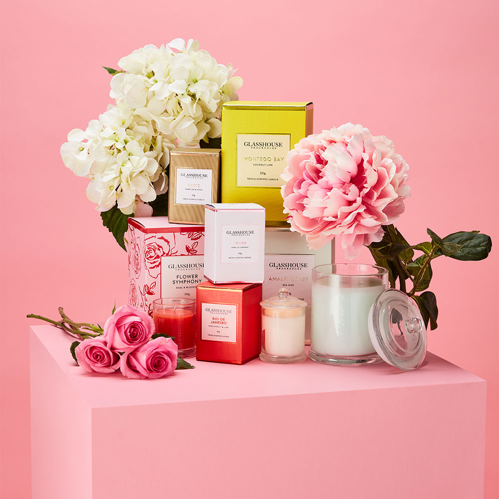 glass house candles floral mothers day editorial