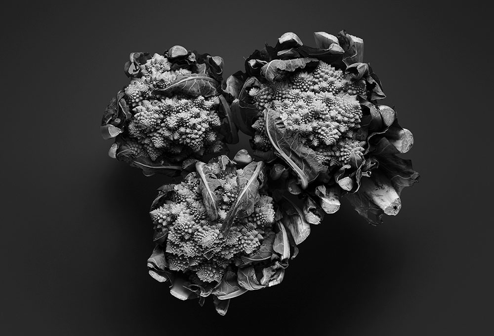 black and white textural cauliflower food photography